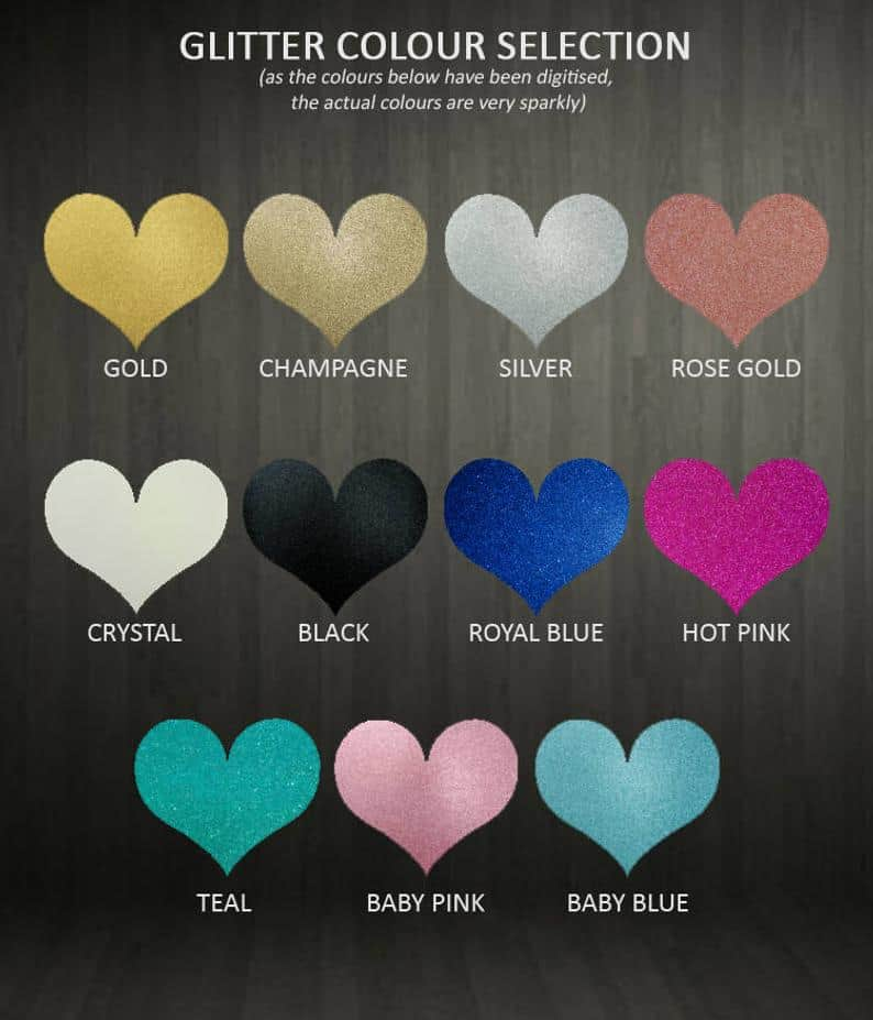 Cake Toppers - Cupcake Toppers - Glitter Colour Selection