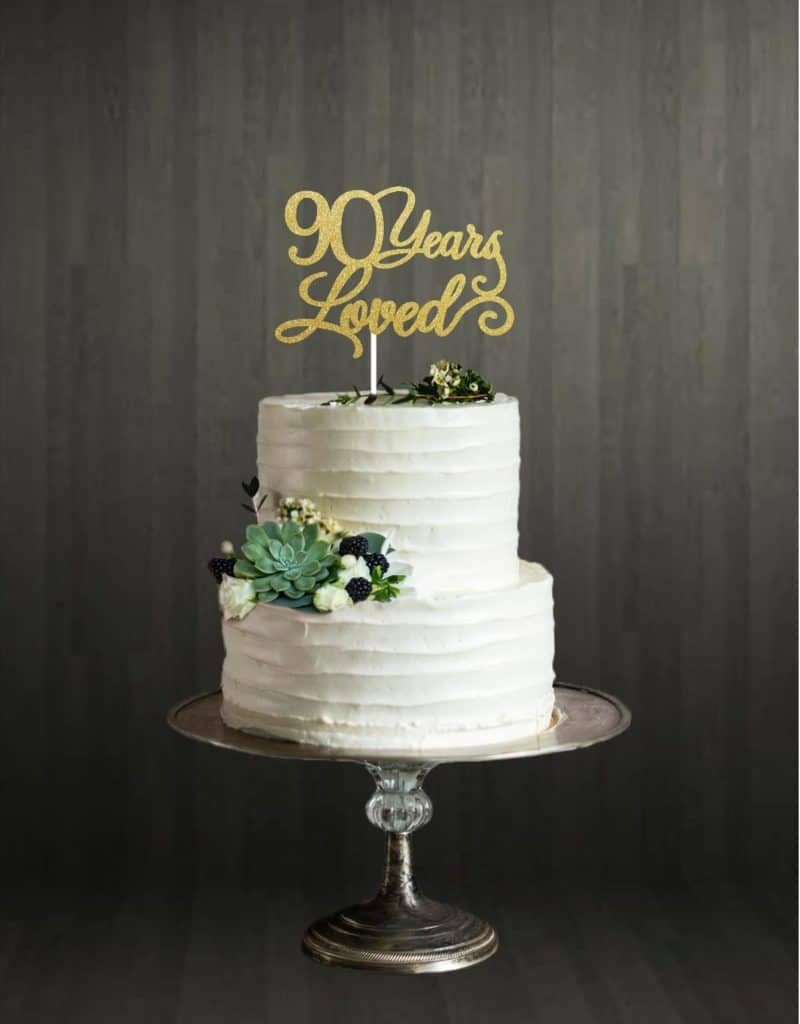 90 Years Loved - Cake Topper - Gold