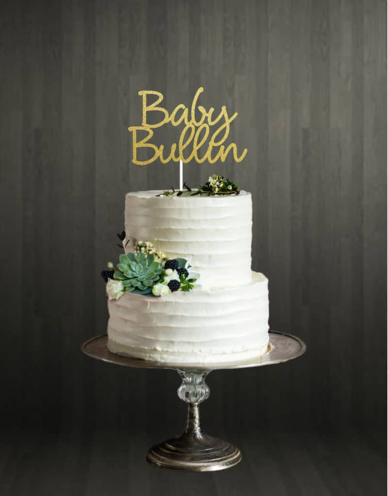 baby name - cake topper - gold