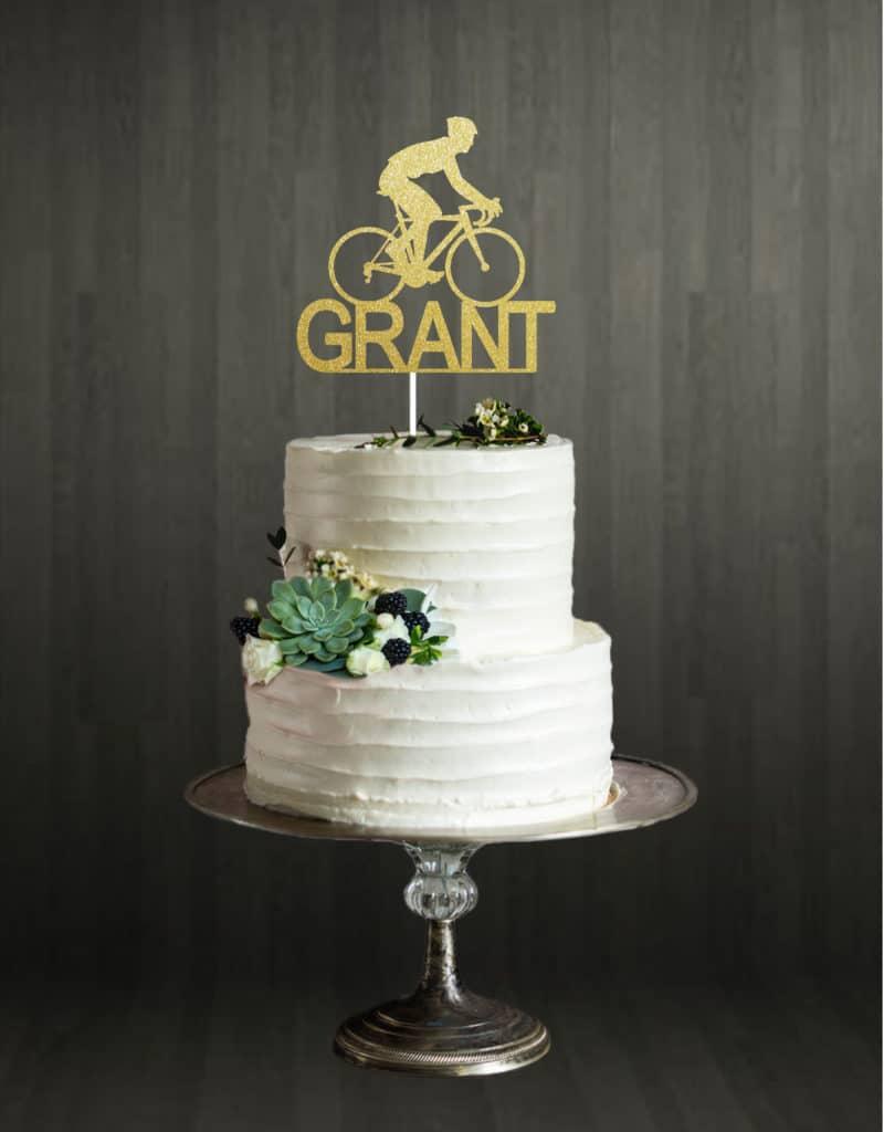 Bike Name - Cake Topper - Gold
