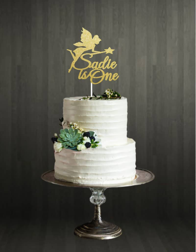 Fairy Name and Age Word - Cake Topper - Gold
