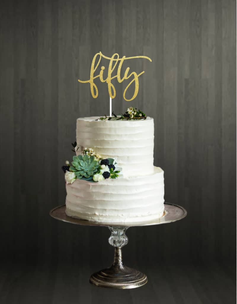 Fifty - Cake Topper - Gold