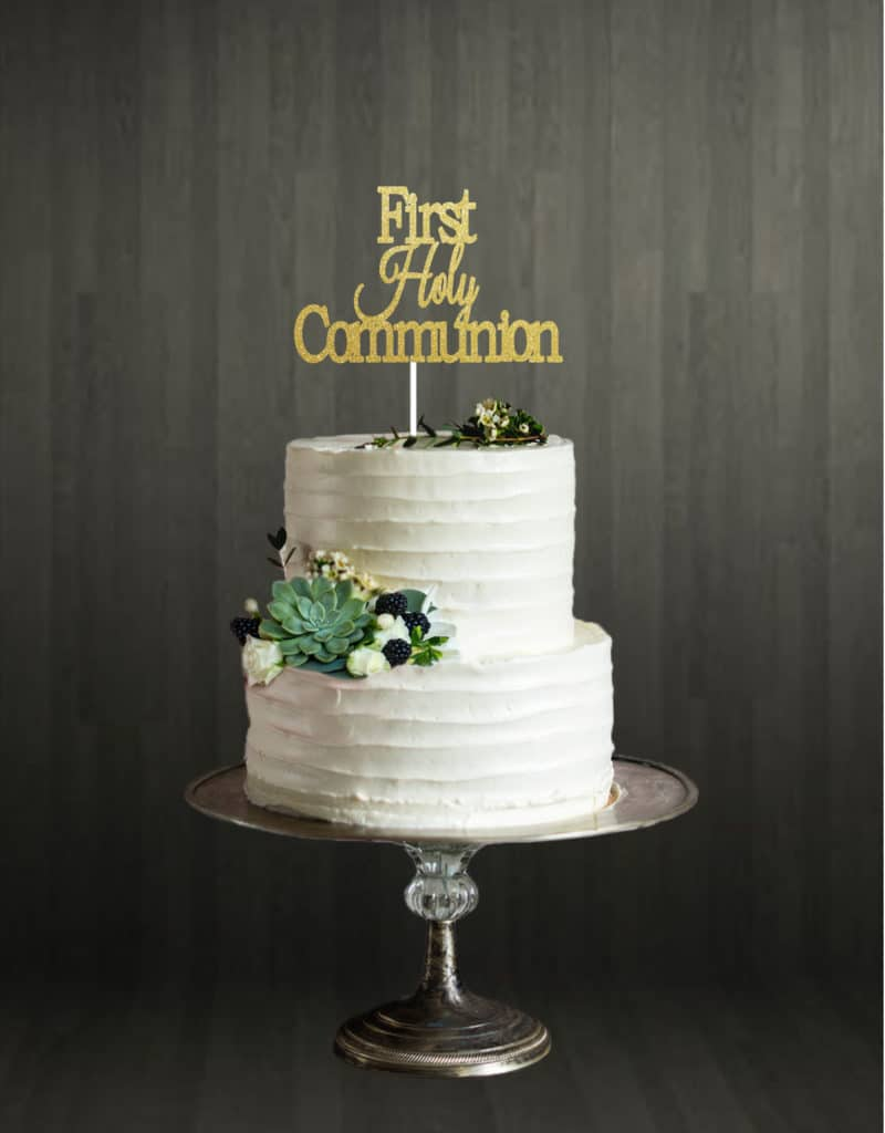 First Holy Communion - Cake Topper - Gold