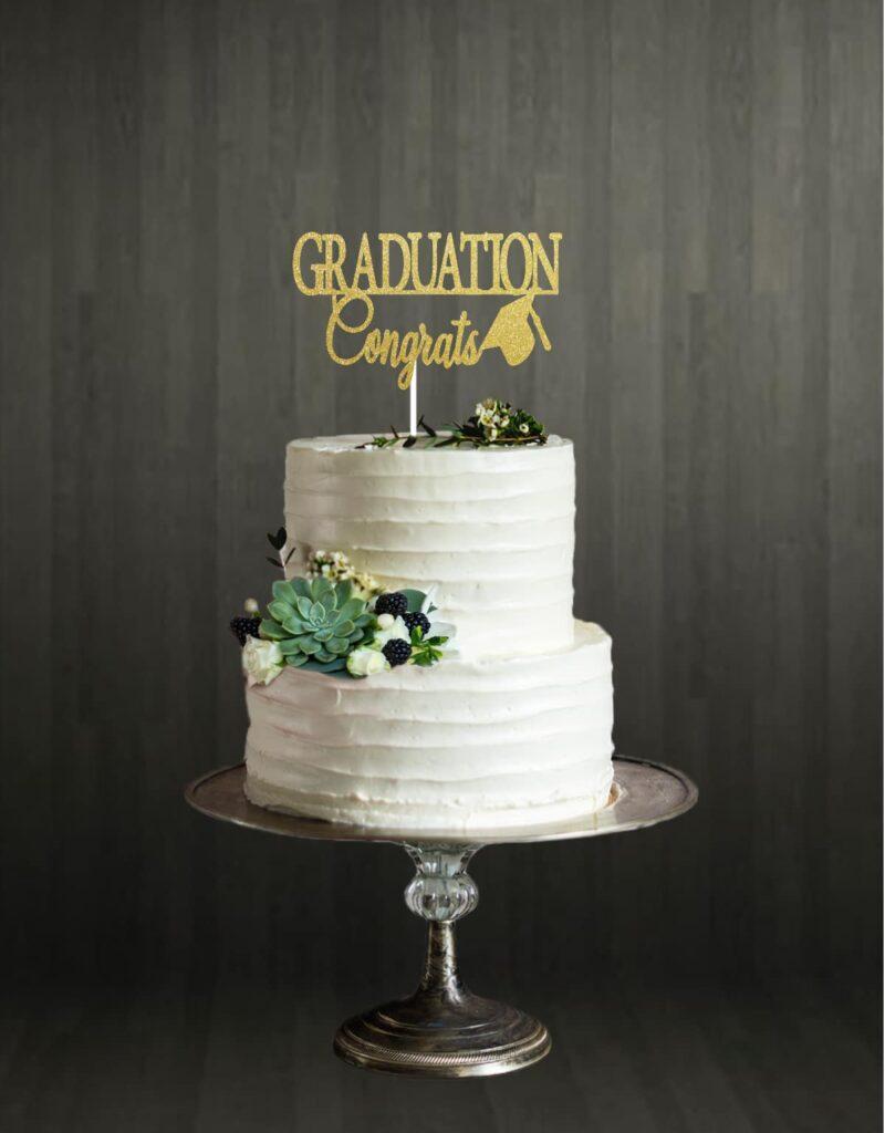 Graduation Congrats - Cake Topper - Gold