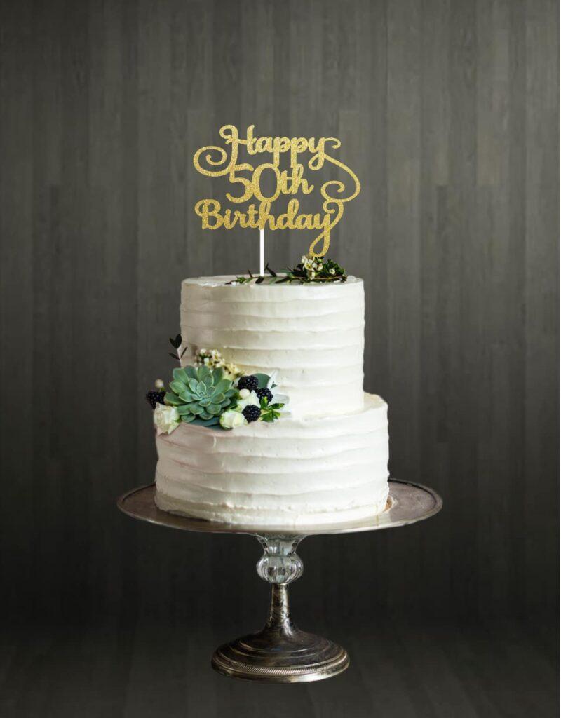Happy 50th Birthday - Cake Topper - Gold