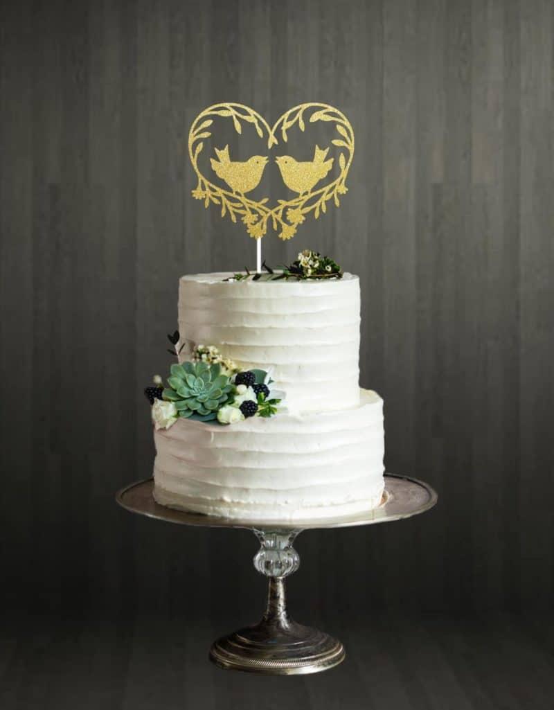 Love Birds - Cake Topper - Gold