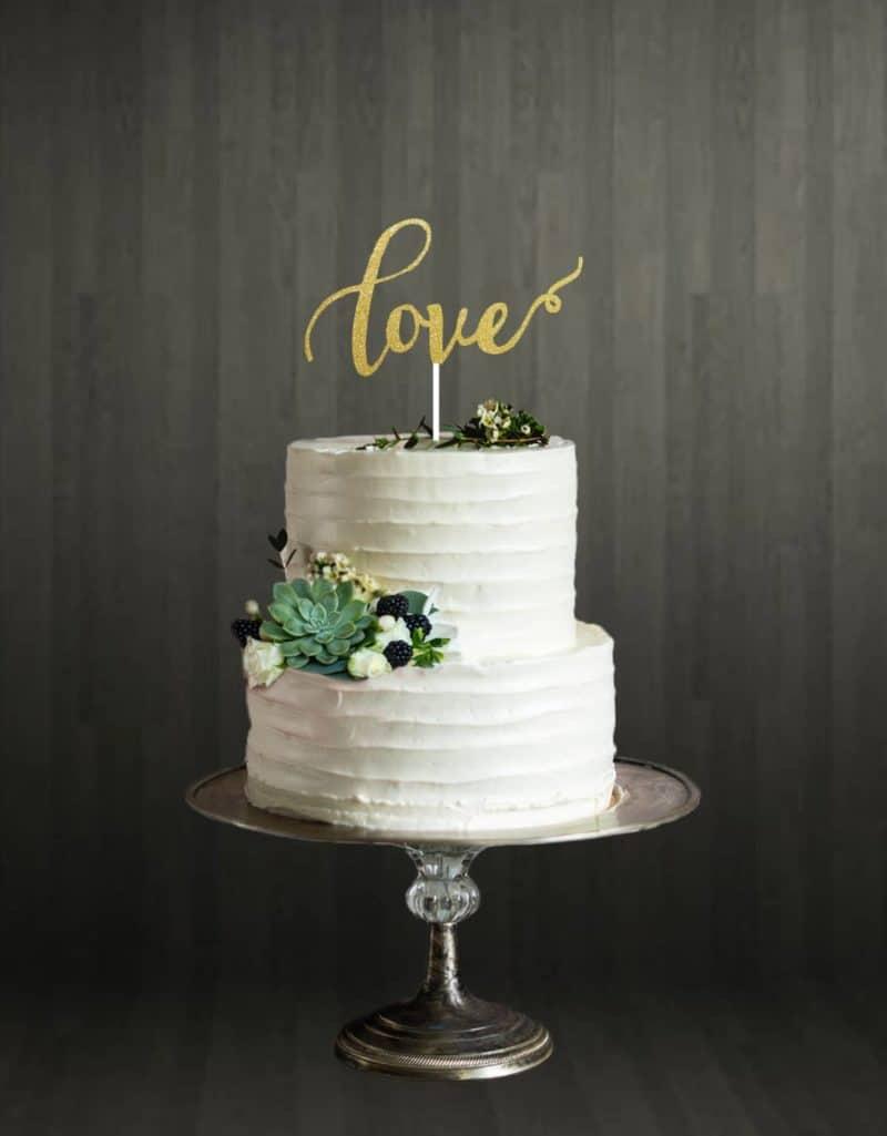 Love - Cake Topper - Gold