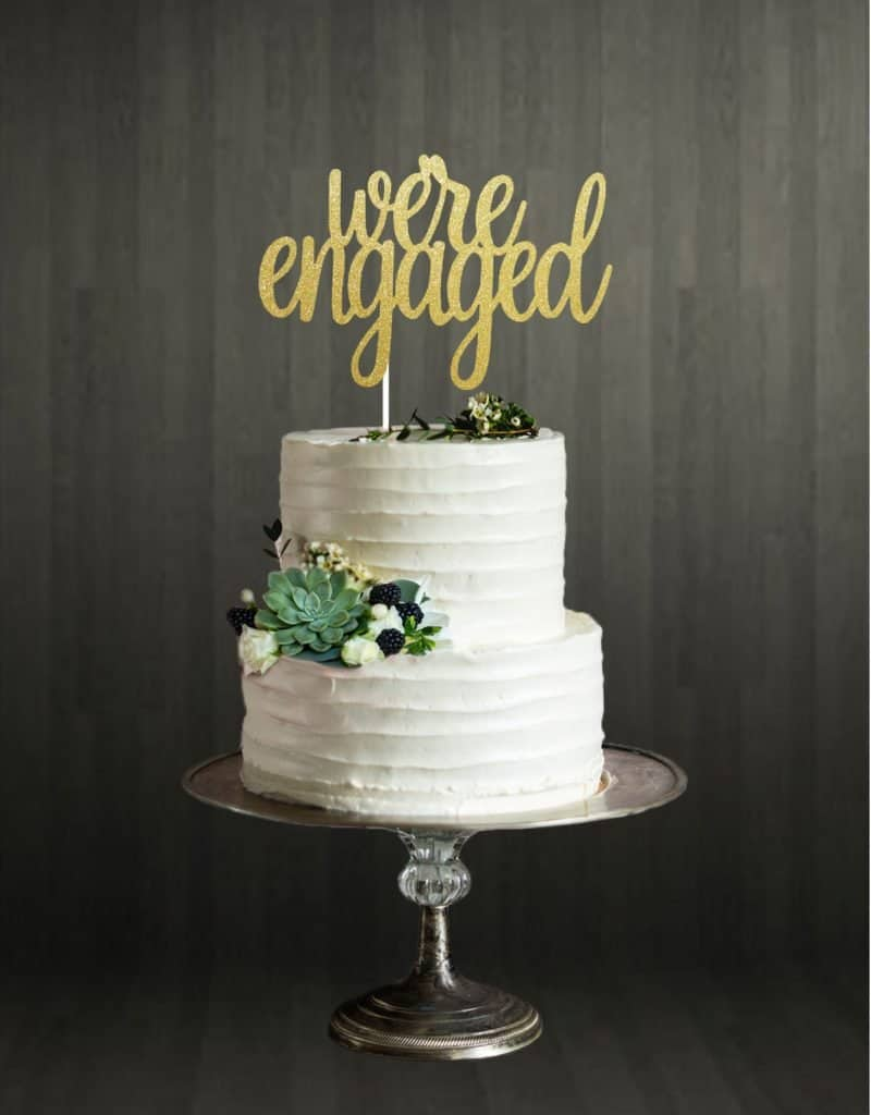 We're Engaged Cake topper glitter gold