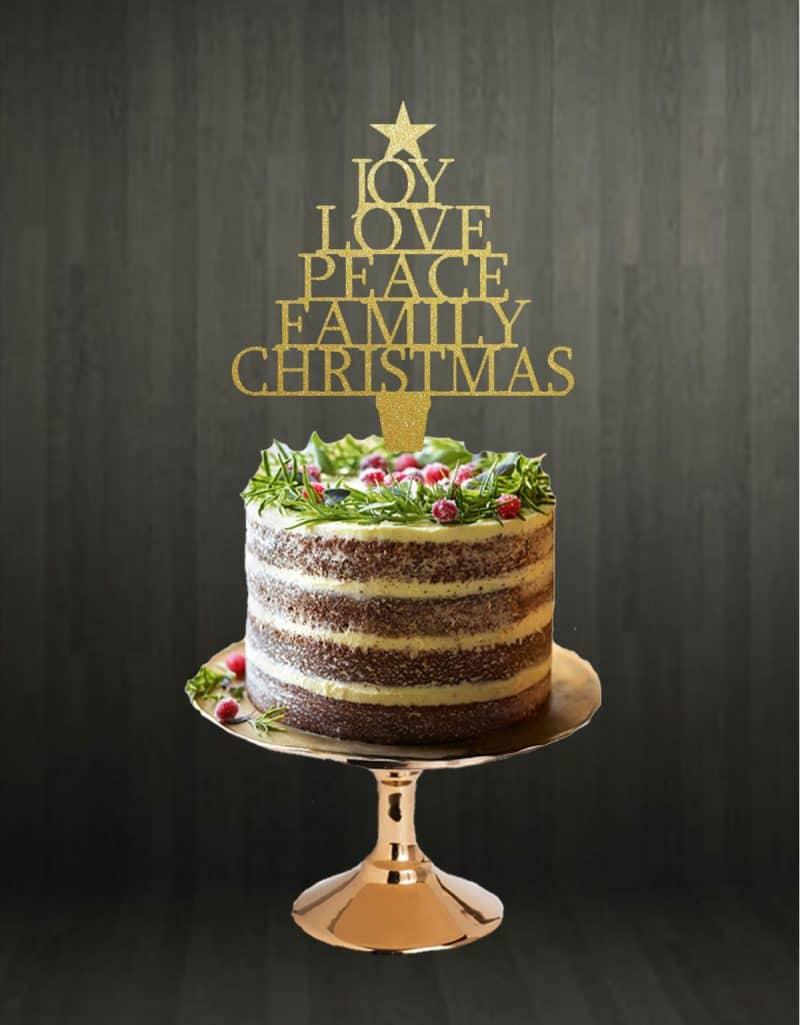 Joy Love Peace Family Christmas Cake Topper Glitter Gold