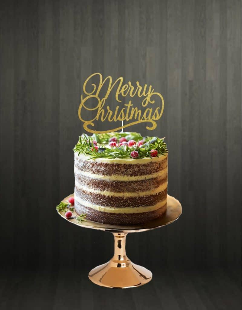 Merry Christmas Cake Topper Glitter Gold